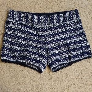 Blue stripe textured shorts with scallop detail